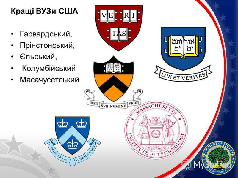 Кращі ВУЗи США Гарвардський, Прінстонський, Єльський, Колумбійський Масачусетський