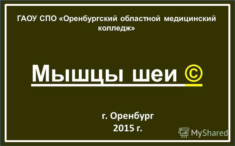Мышцы шеи © ГАОУ СПО «Оренбургский областной медицинский колледж» г. Оренбург 2015 г.