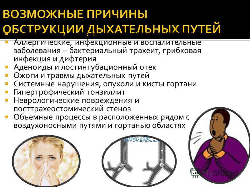 Попадание в дыхательные пути инородного тела Аллергические, инфекционные и воспалительные заболевания – бактериальный трахеит, грибковая инфекция и дифтерия Аденоиды и рост интубационный отек Ожоги и травмы дыхательных путей Системные нарушения, опух