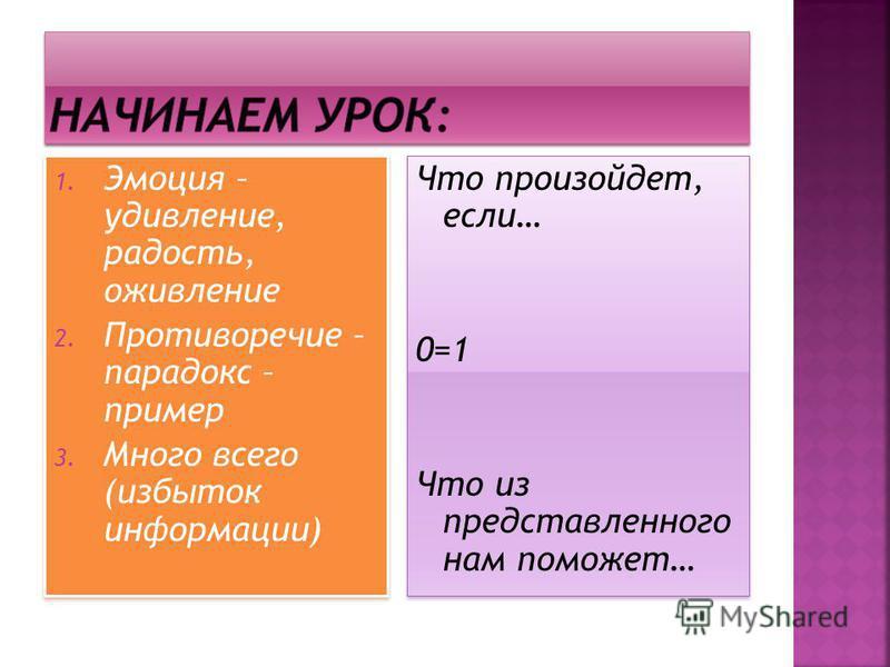 1. Эмоция – удивление, радость, оживление 2. Противоречие – парадокс – пример 3. Много всего (избыток информации) 1. Эмоция – удивление, радость, оживление 2. Противоречие – парадокс – пример 3. Много всего (избыток информации) Что произойдет, если…