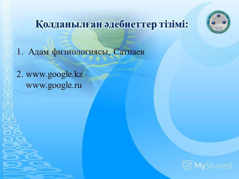 1. Адам физиологиясы, Сатпаев 2. www.google.kz www.google.ru