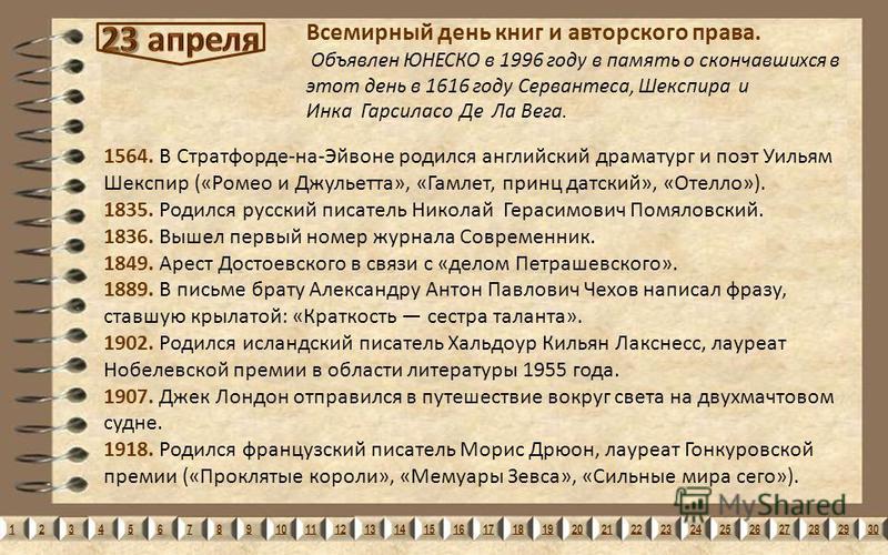 123456789101112131415161718192021222324252627282930 1564. В Стратфорде-на-Эйвоне родился английский драматург и поэт Уильям Шекспир («Ромео и Джульетта», «Гамлет, принц датский», «Отелло»). 1835. Родился русский писатель Николай Герасимович Помяловск