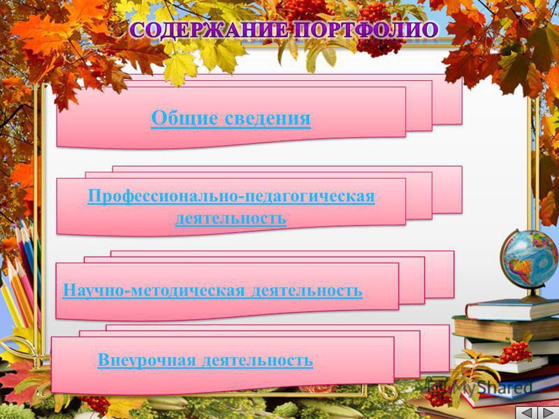 Общие сведения Профессионально-педагогическая деятельность Профессионально-педагогическая деятельность Научно - методическая деятельность Внеурочная деятельность