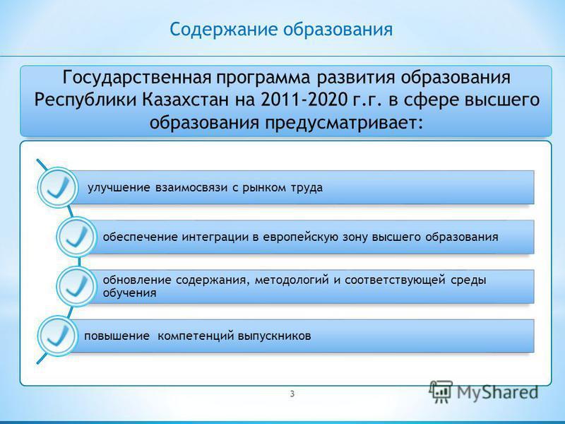 Государственная программа развития образования Республики Казахстан на 2011-2020 г.г. в сфере высшего образования предусматривает: 3 Содержание образования улучшение взаимосвязи с рынком труда обеспечение интеграции в европейскую зону высшего образов