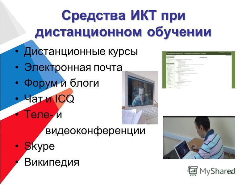 Средства ИКТ при дистанционном обучении Дистанционные курсы Электронная почта Форум и блоги Чат и ICQ Теле- и видеоконференции Skype Википедия 15