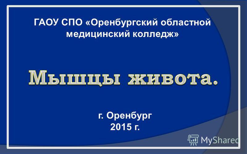 ГАОУ СПО «Оренбургский областной медицинский колледж» г. Оренбург 2015 г.