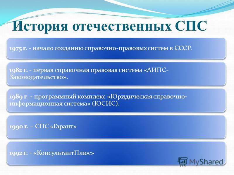 История отечественных СПС 1975 г. - начало созданию справочно-правовых систем в СССР. 1982 г. - первая справочная правовая система «АИПС- Законодательство». 1989 г. - программный комплекс «Юридическая справочно- информационная система» (ЮСИС). 1990 г