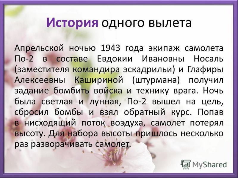 История одного вылета Апрельской ночью 1943 года экипаж самолета По-2 в составе Евдокии Ивановны Носаль (заместителя командира эскадрильи) и Глафиры Алексеевны Кашириной (штурмана) получил задание бомбить войска и технику врага. Ночь была светлая и л