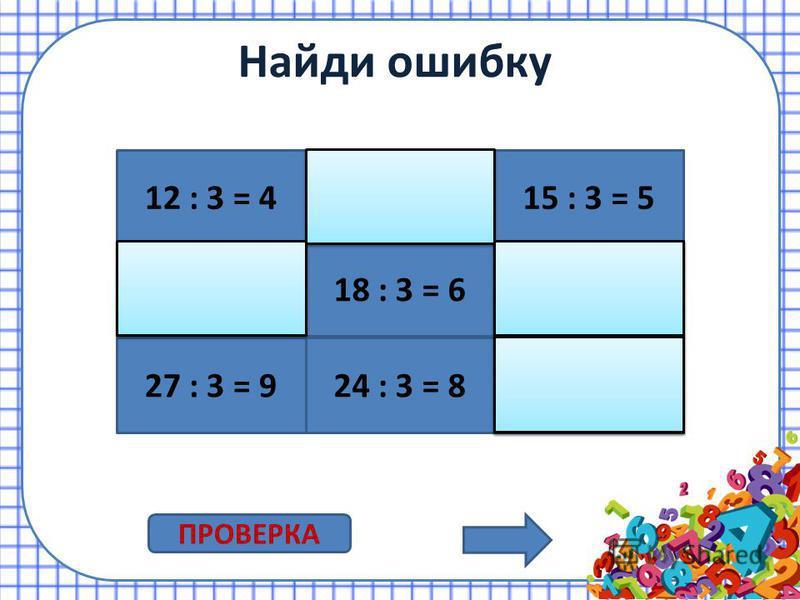 Умножение на 3 3 3 = 9 3 8 = 24 3 7 = 21 3 5 = 15 3 2 = 6 3 6 = 18 3 4 = 12 3 9 = 27 3 10 = 30 3 1 = 3 ПРОВЕРКА