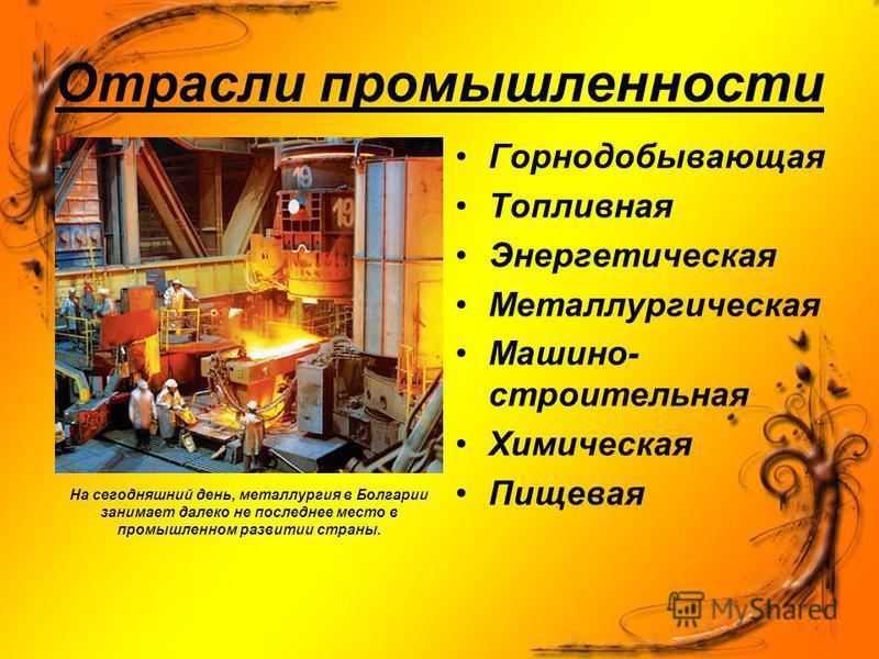 Отрасли промышленности На сегодняшний день, металлургия в Болгарии занимает далеко не последнее место в промышленном развитии страны. Горнодобывающая Топливная Энергетическая Металлургическая Машино- строительная Химическая Пищевая