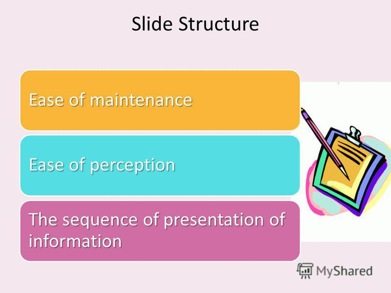 Slide Structure Ease of maintenance Ease of perception The sequence of presentation of information