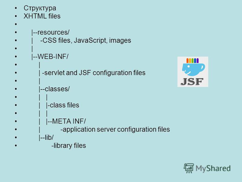 Структура XHTML files |--resources/ | -CSS files, JavaScript, images | |--WEB-INF/ | | -servlet and JSF configuration files | |--classes/ | | | |-class files | | | |--META INF/ | -application server configuration files |--lib/ -library files