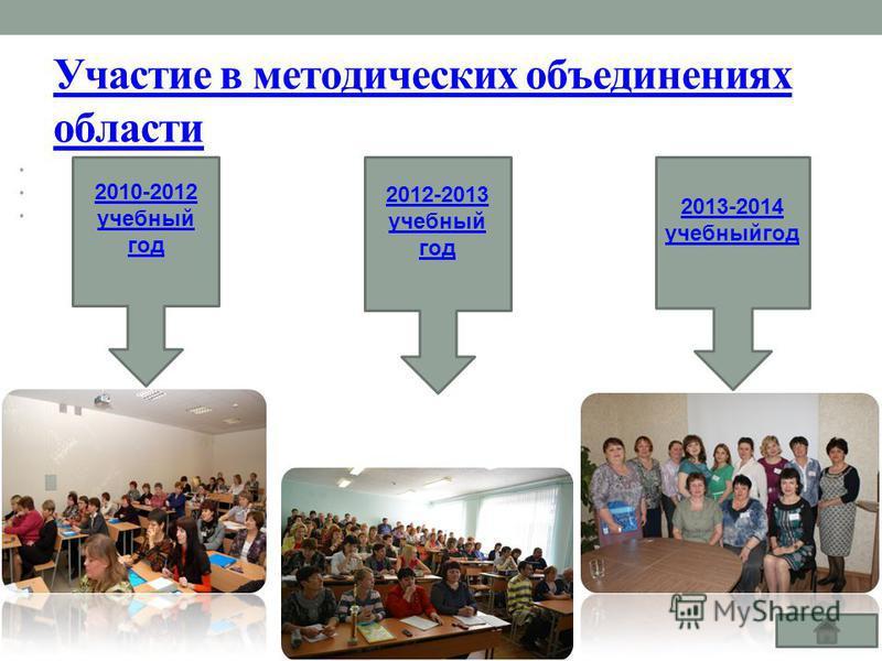 Участие в методических объединениях области 2013-2014 учебный год 2012-2013 учебный год 2010-2012 учебный год