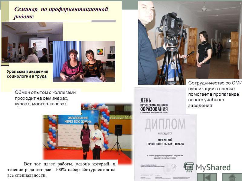 Сотрудничество со СМИ, публикации в прессе помогает в пропаганде своего учебного заведения Обмен опытом с коллегами проходит на семинарах, курсах, мастер-классах