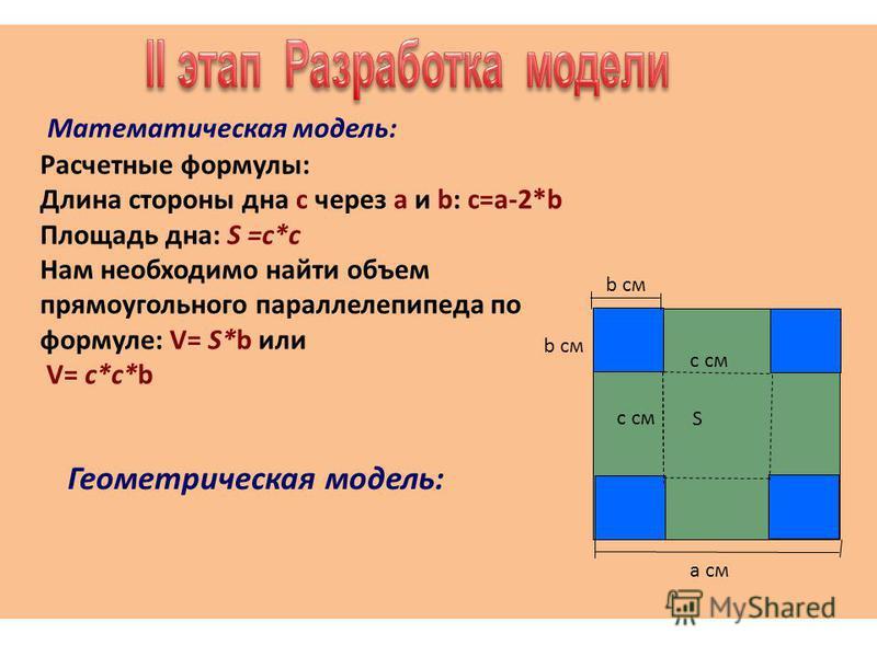Математическая модель: Расчетные формулы: Длина стороны дна с через а и b: с=а-2*b Площадь дна: S =с*с Нам необходимо найти объем прямоугольного параллелепипеда по формуле: V= S*b или V= с*с*b b см a см c см b см S Геометрическая модель: