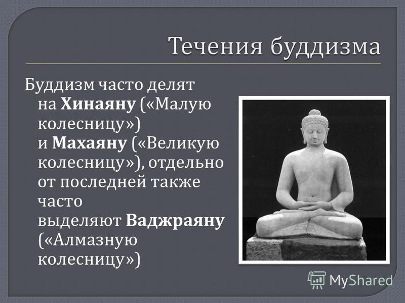 Буддизм часто делят на Хинаяну (« Малую колесницу ») и Махаяну (« Великую колесницу »), отдельно от последней также часто выделяют Ваджраяну (« Алмазную колесницу »)