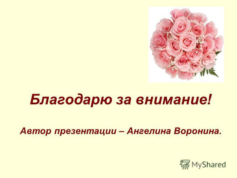 Благодарю за внимание! Автор презентации – Ангелина Воронина.