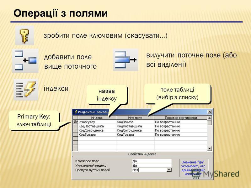 Операції з полями зробити поле ключовим (скасувати…) добавити поле вище поточного вилучити поточне поле (або всі виділені) індекси поле таблиці (вибір з списку) поле таблиці (вибір з списку) Primary Key: ключ таблиці Primary Key: ключ таблиці назва і