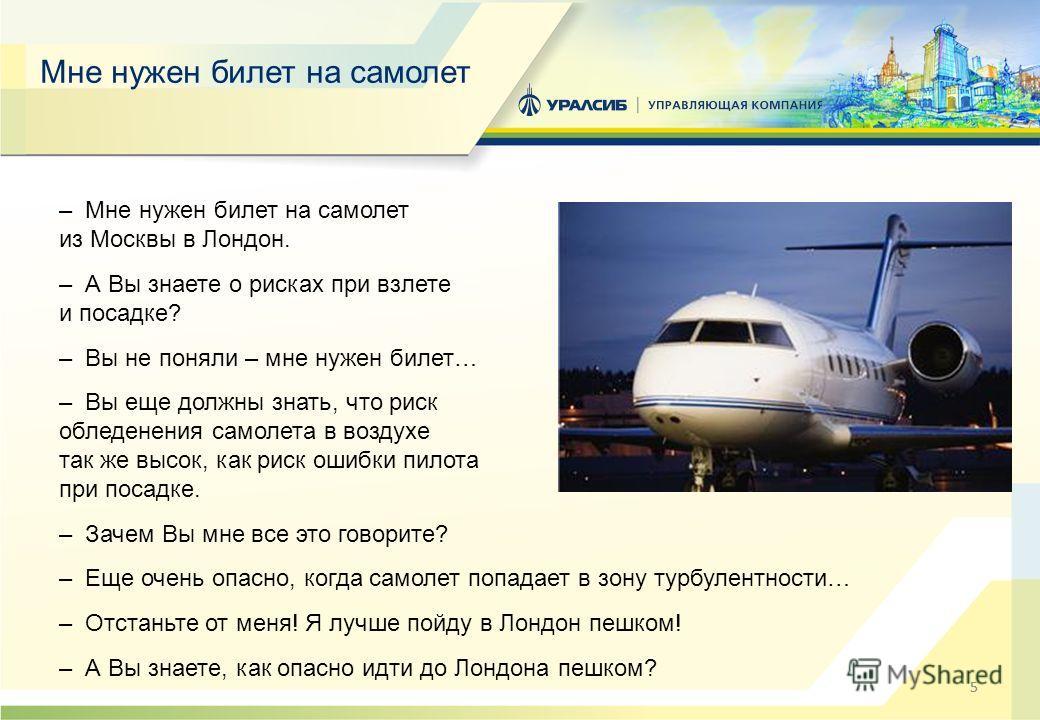 55 Мне нужен билет на самолет – Мне нужен билет на самолет из Москвы в Лондон. – А Вы знаете о рисках при взлете и посадке? – Вы не поняли – мне нужен билет… – Вы еще должны знать, что риск обледенения самолета в воздухе так же высок, как риск ошибки