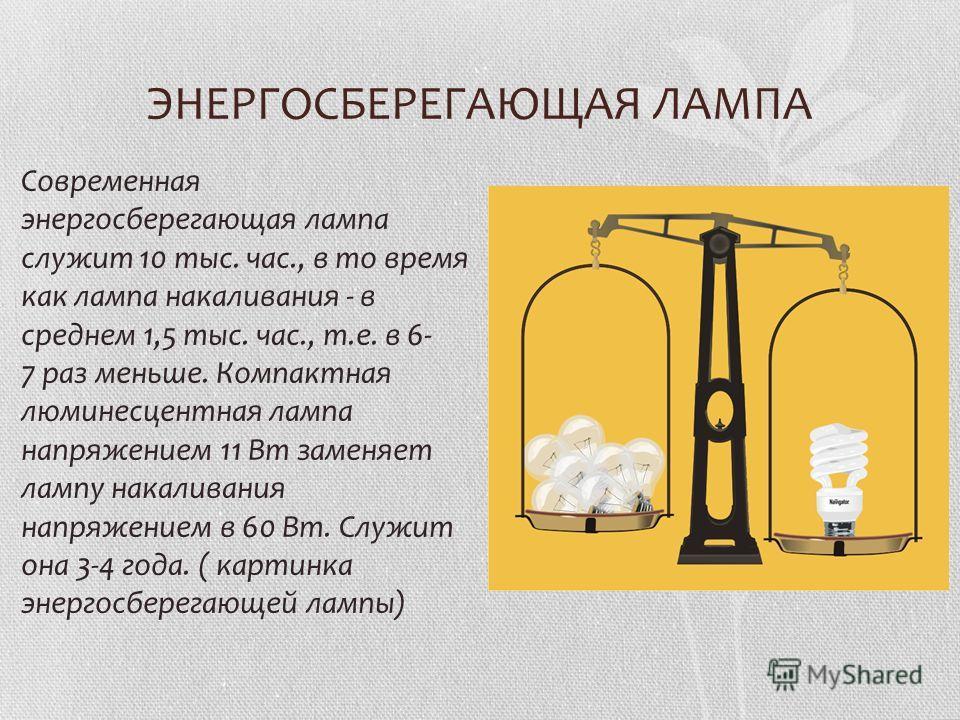 ЭНЕРГОСБЕРЕГАЮЩАЯ ЛАМПА Современная энергосберегающая лампа служит 10 тыс. час., в то время как лампа накаливания - в среднем 1,5 тыс. час., т.е. в 6- 7 раз меньше. Компактная люминесцентная лампа напряжением 11 Вт заменяет лампу накаливания напряжен