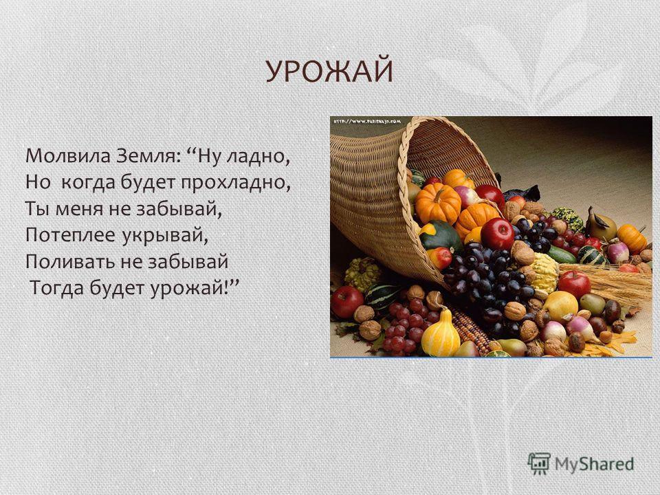УРОЖАЙ Молвила Земля: Ну ладно, Но когда будет прохладно, Ты меня не забывай, Потеплее укрывай, Поливать не забывай Тогда будет урожай!