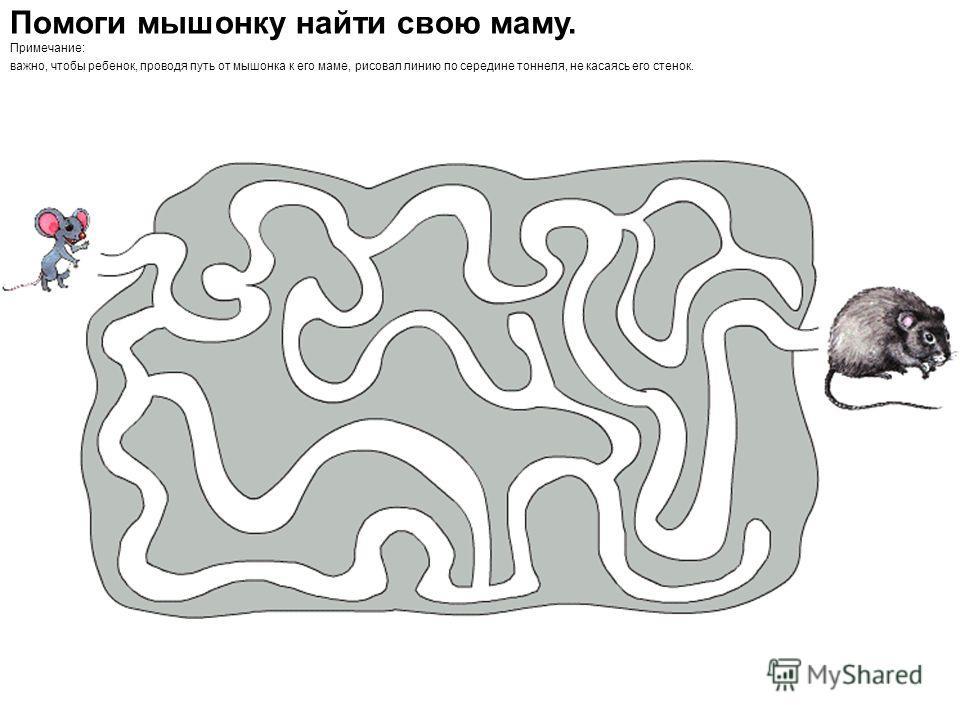 Помоги мышонку найти свою маму. Примечание: важно, чтобы ребенок, проводя путь от мышонка к его маме, рисовал линию по середине тоннеля, не касаясь его стенок.