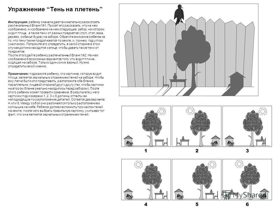Упражнение Тень на плетень Инструкция: ребенку сначала дают внимательно рассмотреть распечатанный Бланк 1. Просят его рассказать, что на нем изображено. А изображено на нем следующее: забор, на котором сидит птица, а также тени от разных предметов (с