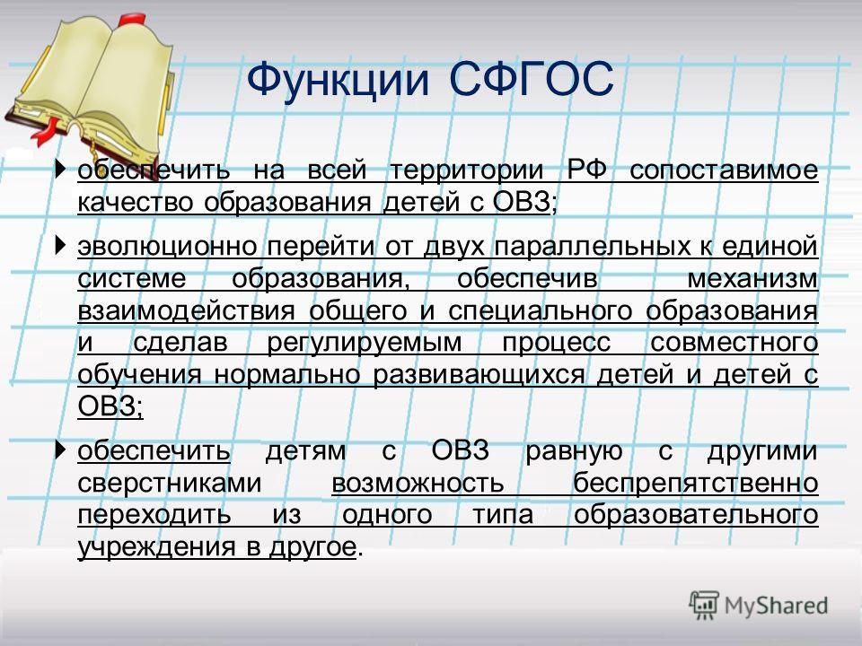 Функции СФГОС обеспечить на всей территории РФ сопоставимое качество образования детей с ОВЗ; эволюционно перейти от двух параллельных к единой системе образования, обеспечив механизм взаимодействия общего и специального образования и сделав регулиру