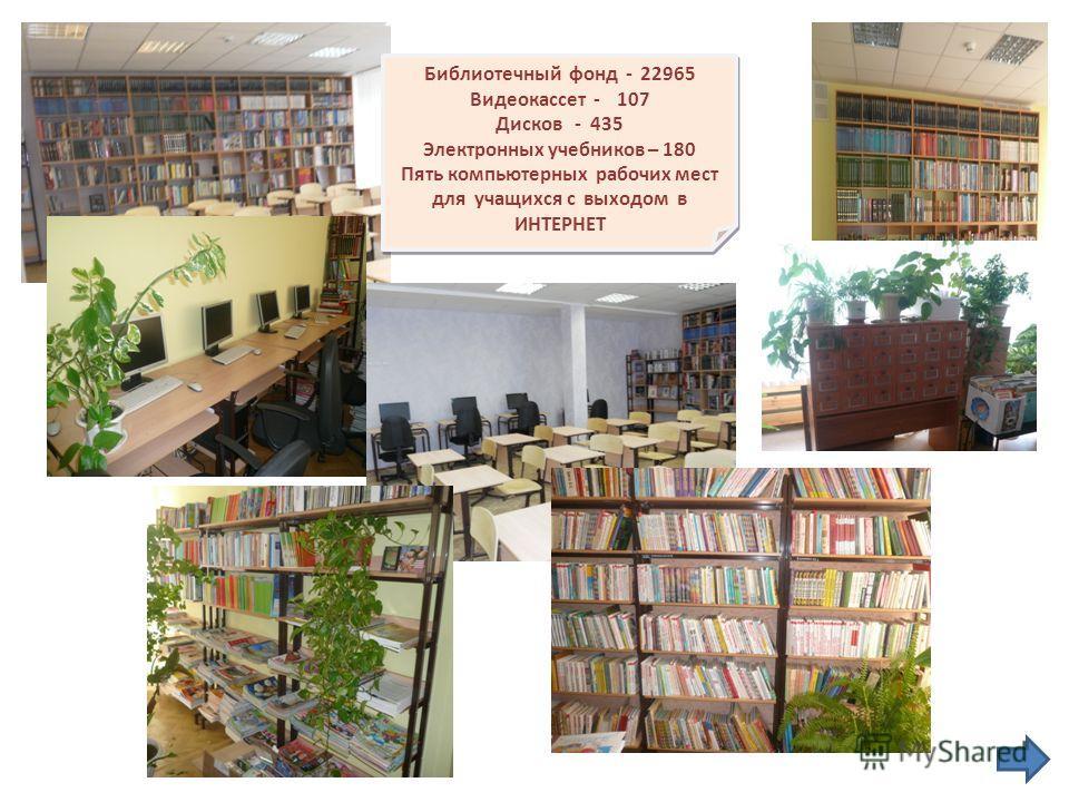 Библиотечный фонд - 22965 Видеокассет - 107 Дисков - 435 Электронных учебников – 180 Пять компьютерных рабочих мест для учащихся с выходом в ИНТЕРНЕТ Библиотечный фонд - 22965 Видеокассет - 107 Дисков - 435 Электронных учебников – 180 Пять компьютерн
