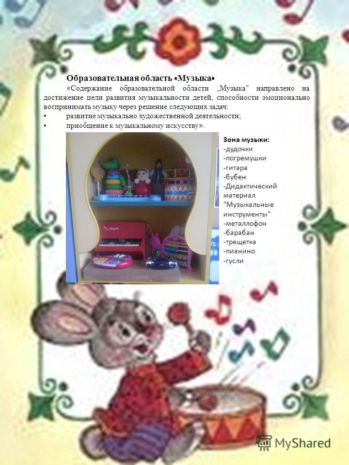 Образовательная область « Музыка » « Содержание образовательной области Музыка