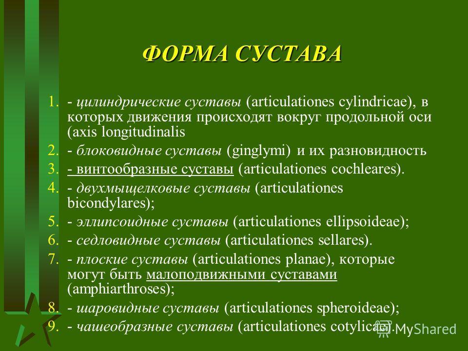 ФОРМА СУСТАВА 1.- цилиндрические суставы (articulationes cylindricae), в которых движения происходят вокруг продольной оси (axis longitudinalis 2.- блоковидные суставы (ginglymi) и их разновидность 3.- винтообразные суставы (articulationes cochleares