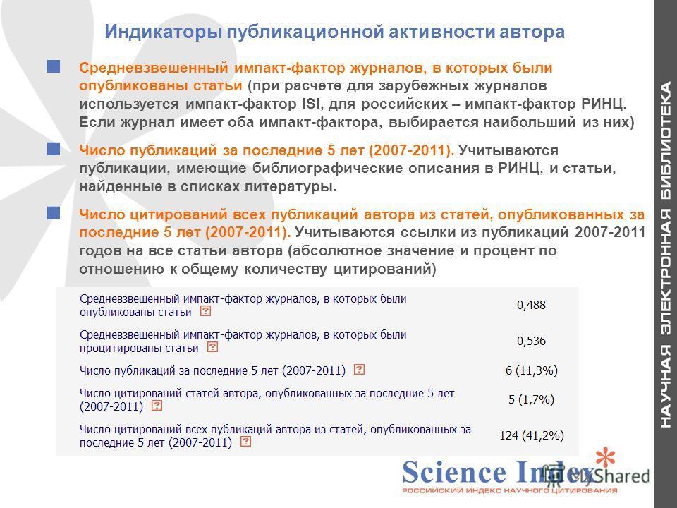 Индикаторы публикационной активности автора Средневзвешенный импакт-фактор журналов, в которых были опубликованы статьи (при расчете для зарубежных журналов используется импакт-фактор ISI, для российских – импакт-фактор РИНЦ. Если журнал имеет оба им