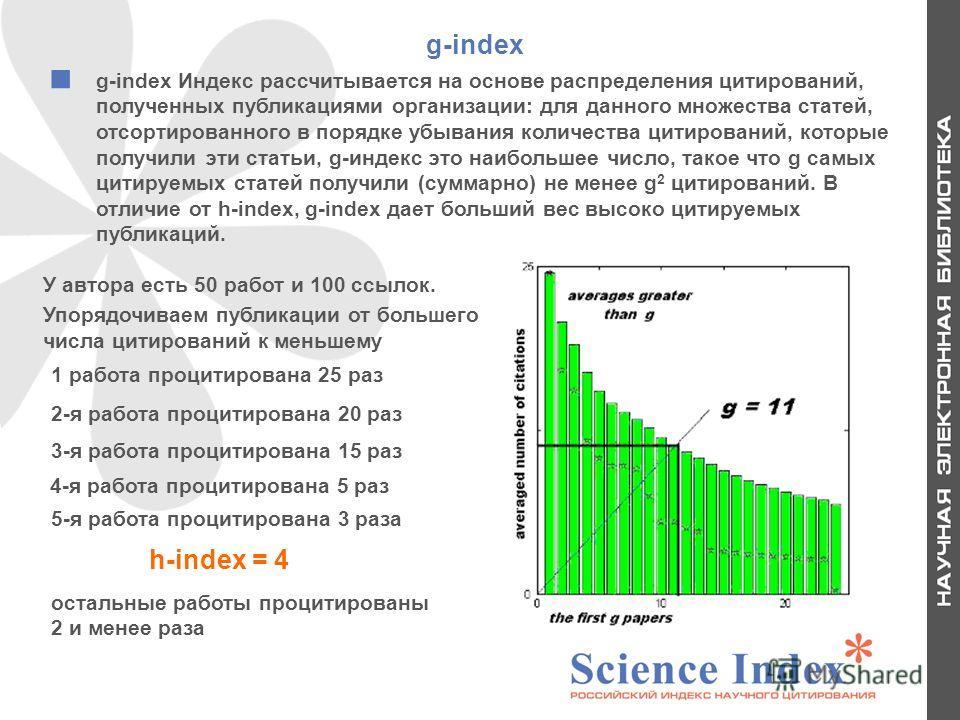 g-index g-index Индекс рассчитывается на основе распределения цитирований, полученных публикациями организации: для данного множества статей, отсортированного в порядке убывания количества цитирований, которые получили эти статьи, g-индекс это наибол