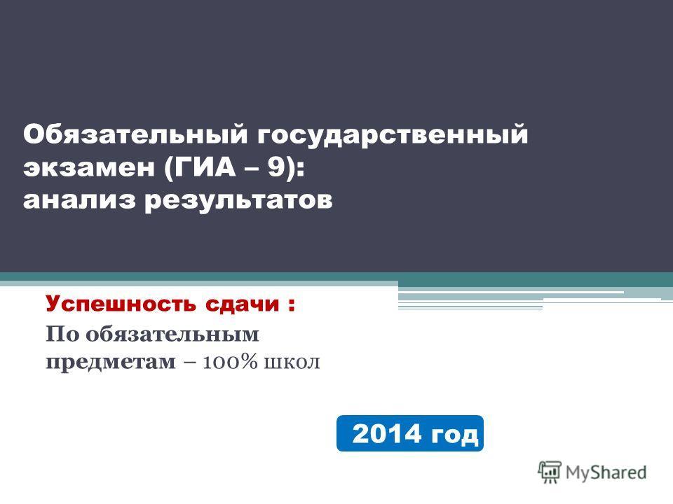 Обязательный государственный экзамен (ГИА – 9): анализ результатов Успешность сдачи : По обязательным предметам – 100% школ 2014 год