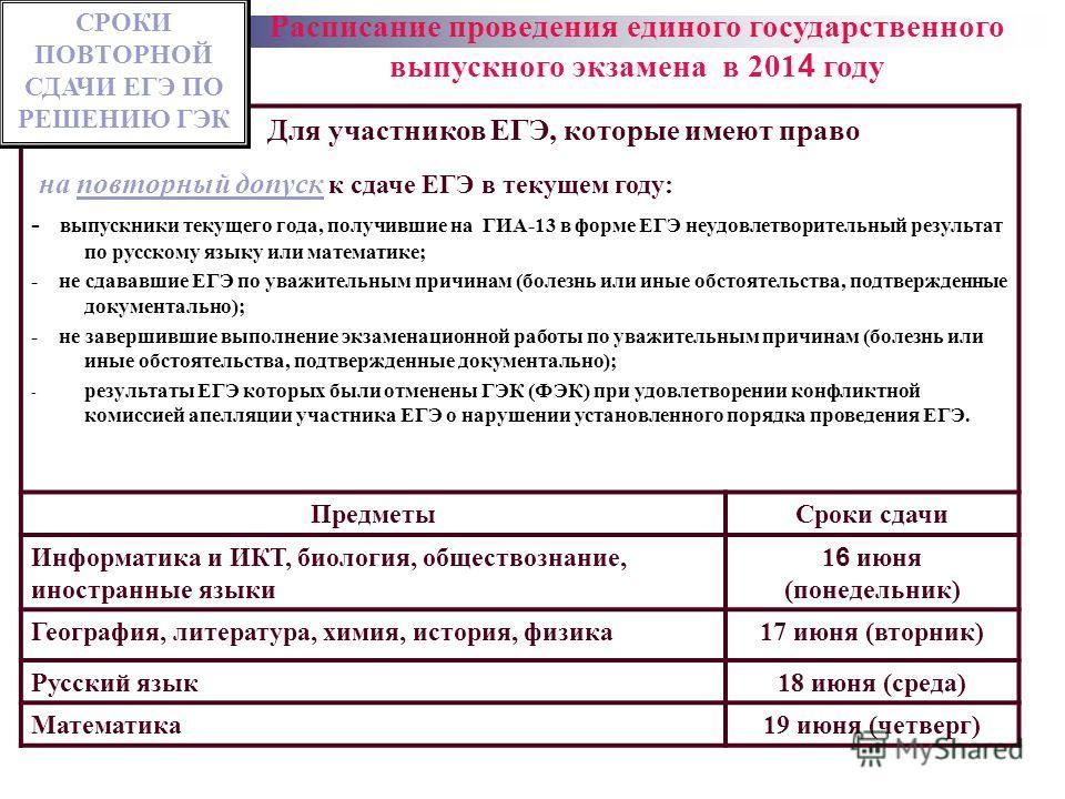 Для участников ЕГЭ, которые имеют право на повторный допуск к сдаче ЕГЭ в текущем году: - выпускники текущего года, получившие на ГИА-13 в форме ЕГЭ неудовлетворительный результат по русскому языку или математике; - не сдававшие ЕГЭ по уважительным п