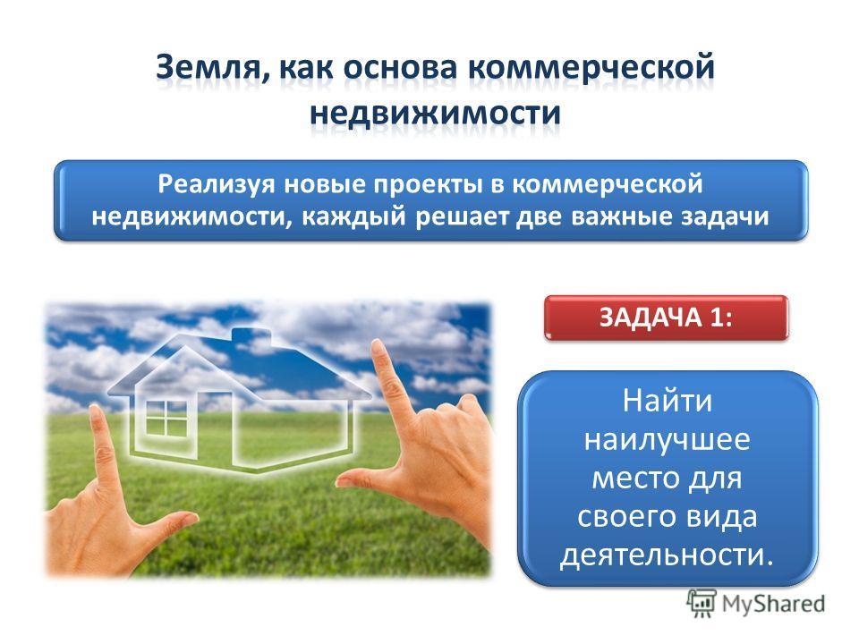Реализуя новые проекты в коммерческой недвижимости, каждый решает две важные задачи ЗАДАЧА 1: Найти наилучшее место для своего вида деятельности.