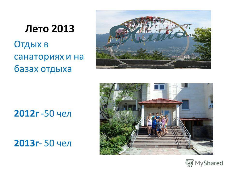 Лето 2013 Отдых в санаториях и на базах отдыха 2012 г -50 чел 2013 г- 50 чел