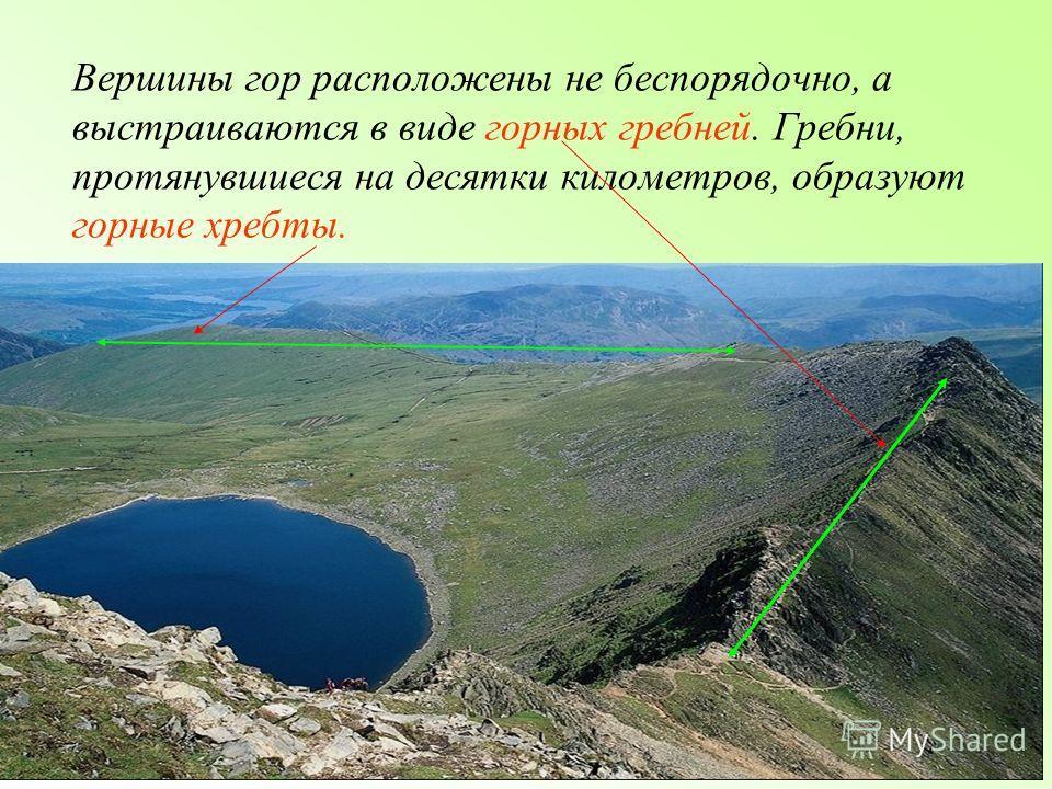 Вершины гор расположены не беспорядочно, а выстраиваются в виде горных гребней. Гребни, протянувшиеся на десятки километров, образуют горные хребты.