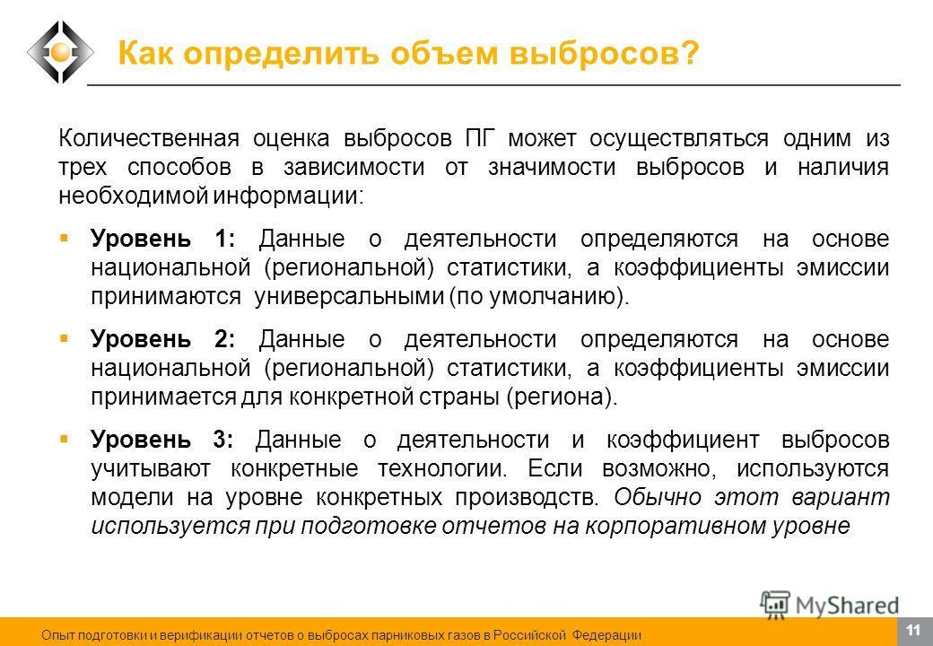 Смягчение изменений климата: существующие возможности. Роль и деятельность России 11 Как определить объем выбросов? Количественная оценка выбросов ПГ может осуществляться одним из трех способов в зависимости от значимости выбросов и наличия необходим