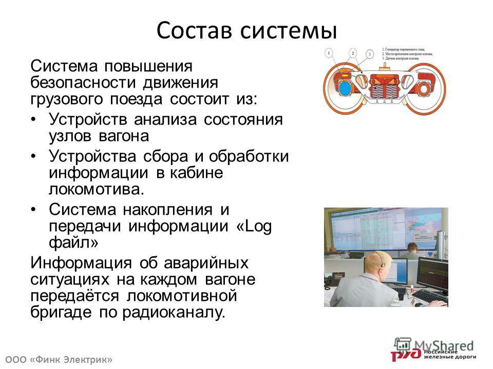 Состав системы Система повышения безопасности движения грузового поезда состоит из: Устройств анализа состояния узлов вагона Устройства сбора и обработки информации в кабине локомотива. Система накопления и передачи информации «Log файл» Информация о
