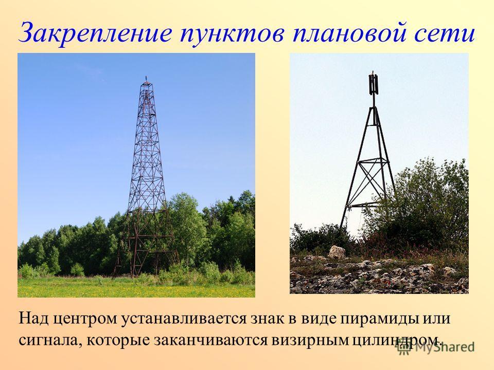 Закрепление пунктов плановой сети Над центром устанавливается знак в виде пирамиды или сигнала, которые заканчиваются визирным цилиндром.
