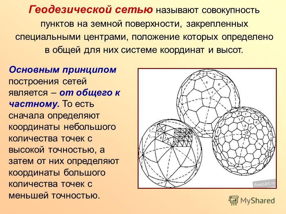 Геодезической сетью называют совокупность пунктов на земной поверхности, закрепленных специальными центрами, положение которых определено в общей для них системе координат и высот. Основным принципом построения сетей является – от общего к частному.