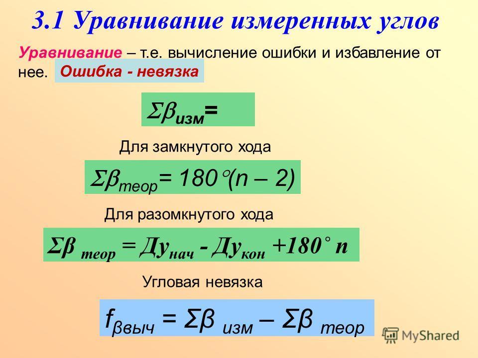 3.1 Уравнивание измеренных углов Уравнивание – т.е. вычисление ошибки и избавление от нее. Ошибка - невязка изм = теор = 180 (n – 2) Для замкнутого хода Σβ теор = Ду нач - Ду кон +180˚ n Для разомкнутого хода Угловая невязка f βвыч = Σβ изм – Σβ теор