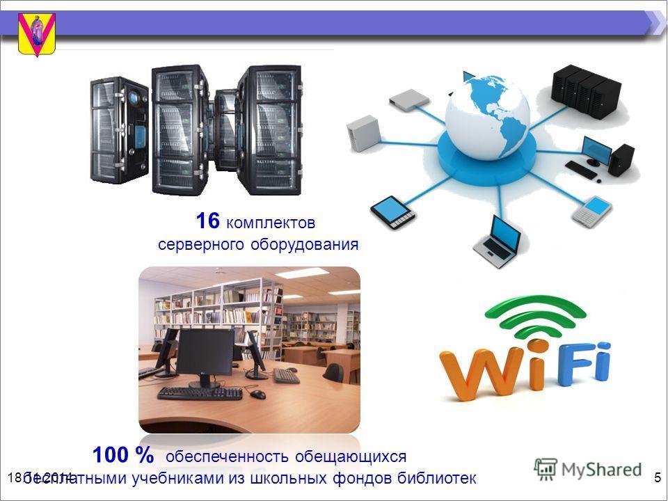 16 комплектов серверного оборудования 100 % обеспеченность обещающихся бесплатными учебниками из школьных фондов библиотек 18.11.20145
