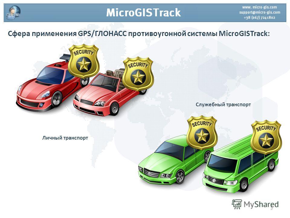 Сфера применения GPS/ГЛОНАСС противоугонной системы MicroGISTrack: Личный транспорт Служебный транспорт 3