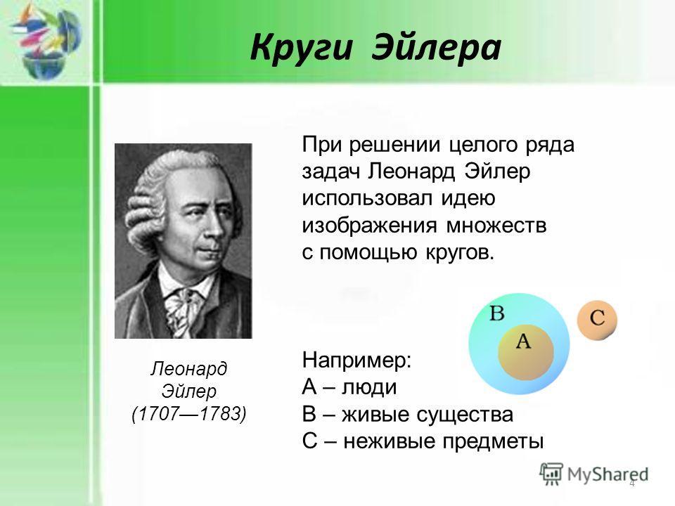 Круги Эйлера При решении целого ряда задач Леонард Эйлер использовал идею изображения множеств с помощью кругов. Например: А – люди В – живые существа С – неживые предметы Леонард Эйлер (17071783) 4
