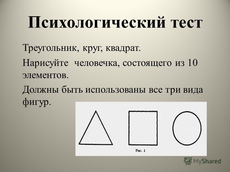 Психологический тест Треугольник, круг, квадрат. Нарисуйте человечка, состоящего из 10 элементов. Должны быть использованы все три вида фигур.