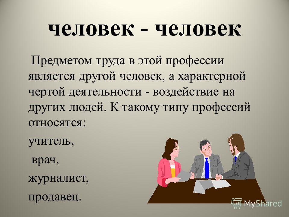 человек - человек Предметом труда в этой профессии является другой человек, а характерной чертой деятельности - воздействие на других людей. К такому типу профессий относятся: учитель, врач, журналист, продавец.