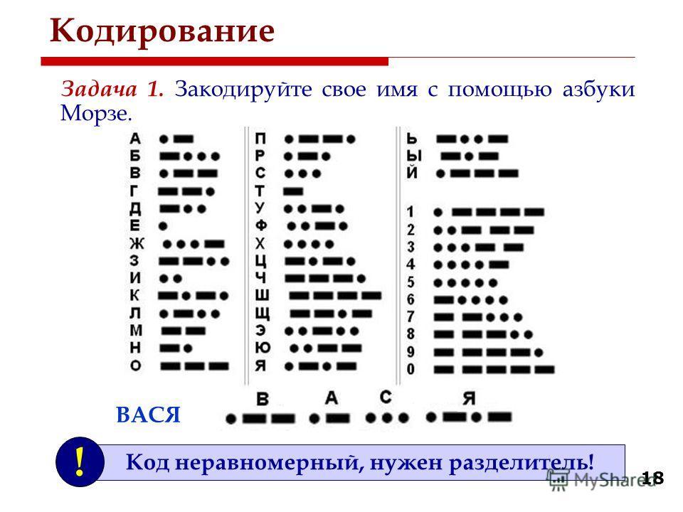 18 Кодирование Задача 1. Закодируйте свое имя с помощью азбуки Морзе. ВАСЯ Код неравномерный, нужен разделитель! !