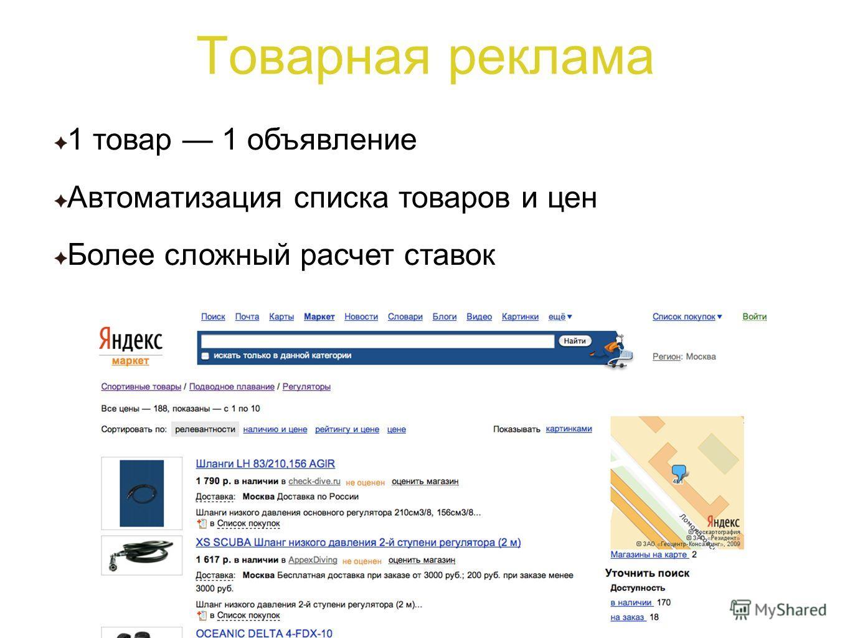Товарная реклама 1 товар 1 объявление Автоматизация списка товаров и цен Более сложный расчет ставок